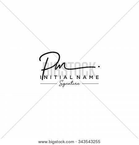 Letter Initial Pm Signature Logo Template Vector