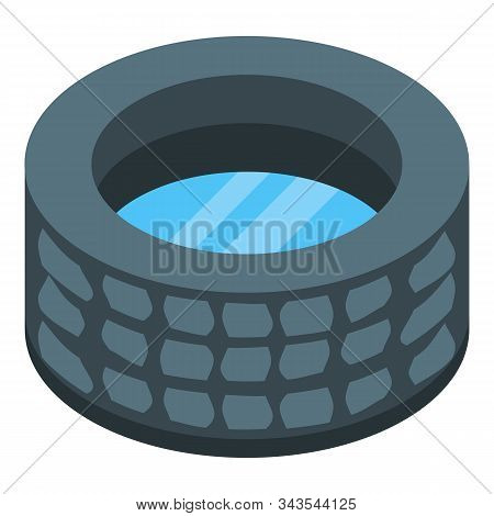 Stone Well With Water Icon. Isometric Of Stone Well With Water Vector Icon For Web Design Isolated O