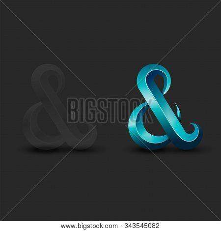 Ampersand Logo Aquamarine Latin Calligraphy Letter Design, 3d Symbol Transparent Plastic Or Glass Ma