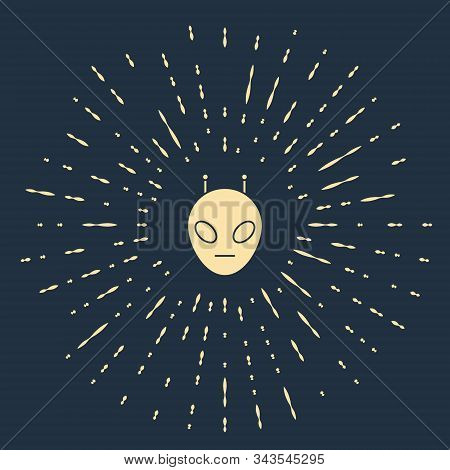 Beige Alien Icon Isolated On Blue Background. Extraterrestrial Alien Face Or Head Symbol. Abstract C