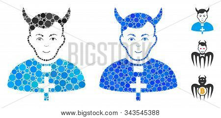 Devil Priest Mosaic Of Filled Circles In Different Sizes And Color Tinges, Based On Devil Priest Ico
