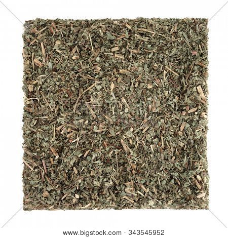 Pulsatilla herb leaf used in herbal medicine to treat headaches, insomnia,boils, asthma, lung diseases, earache, pre menstrual cramps & problems with the male reproductive system.  On white background