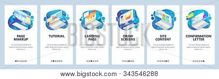 Isometric Computer Icons, Landing Page And Site Wireframe. Mobile App Onboarding Screens. Menu Vecto