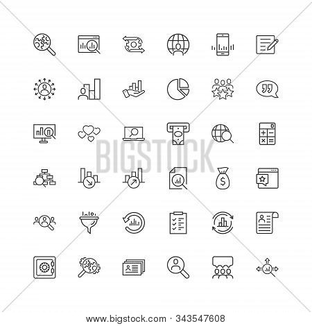 Global Money Icon Set In Flat Style. Global Information Vector Illustration On White Isolated Backgr