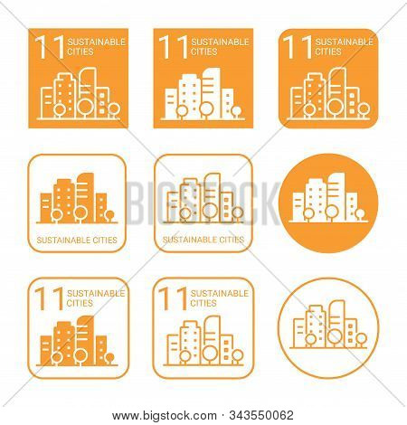 Sustainable Cities Icon Set. Linear And Flat Style Icons. Eleventh (11) Goal Of Sustainable Developm