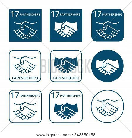Partnerships Icon Set. Linear And Flat Style Icons. Seventeenth (17) Goal Of Sustainable Development
