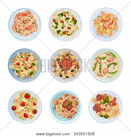 Different Pasta Served On Plate Top View Vector Set