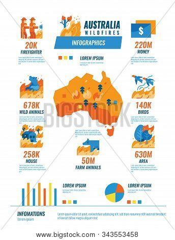 Australia Wildfires Infographics, Flat Design Elements. Vector Illustration