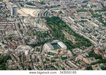 Aerial View Looking North Across Chelsea And Earls Court With The Stamford Bridge Stadium - Home To