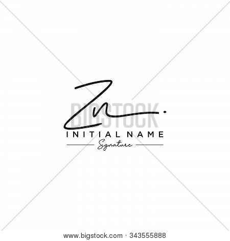 Letter Initial Zn Signature Logo Template Vector
