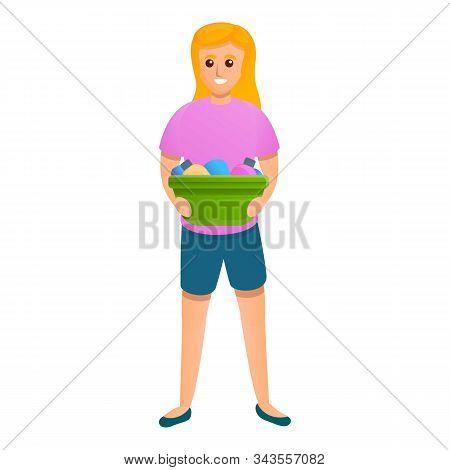 Woman Take Cleaner Basin Icon. Cartoon Of Woman Take Cleaner Basin Vector Icon For Web Design Isolat