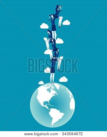 The Rise Of Globe Population. Concept Business Vector Illustration, Growth, Up, World Population.