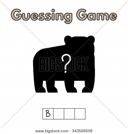 Cartoon Bear Guessing Game. Vector Illustration For Children Education