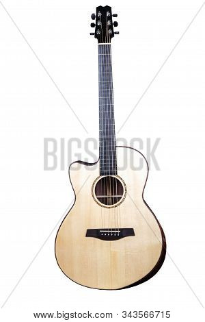 Wood Texture Of Lower Deck Of Six Strings Acoustic Guitar On White Background. Guitar Shape