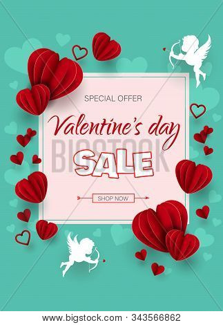 Valentine, valentine day, Valentines Day background, Valentine's day banners, Valentines Day flyer, Valentines Day design, Valentines Day with Heart on pink background, Copy space text area, vector illustration. Discount banner for Valentines day, red hea
