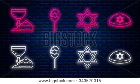 Set Line Balloons With Ribbon With Star Of David, Star Of David, Jewish Goblet And Hanukkah Sufganiy