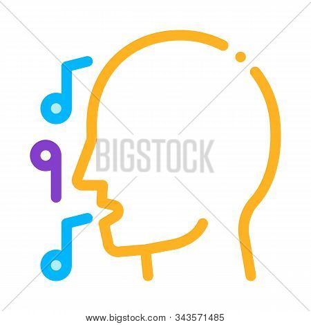 Man Silhouette Singing Song Recital Concert Vector Icon Thin Line. Microphone And Dynamic, Concert A