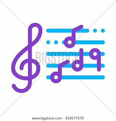 Treble Clef And Musical Notes Opera Element Vector Icon Thin Line. Singers And Headphones, Concert,