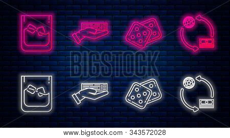 Set Line Hand Holding Deck Of Playing Cards, Game Dice, Glass Of Whiskey And Ice Cubes And Casino Ch