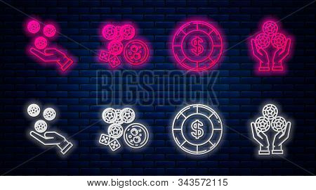 Set Line Casino Chips, Game Dice And Glass Of Whiskey With Ice Cubes, Casino Chip With Dollar Symbol