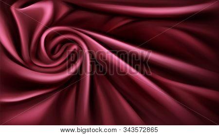 Swirl Fabric Silk Backdrop, Luxurious Vinous Drapery Folded Textile With Soft Spiral Vortex Satin Wa