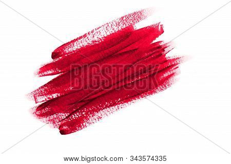 Red Brush Strokes Painted With Acrylic Paint Isolated On White Background. Bright Textured Abstract