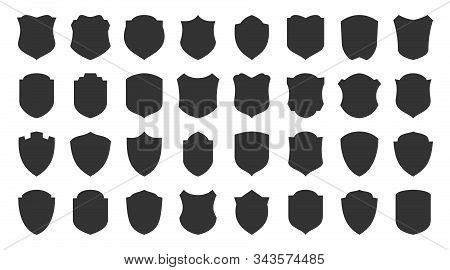 Shields Glyph Icons Set. Security Symbol. Coat Arms Silhouette Icon. Safety, Defense, Protection Sig