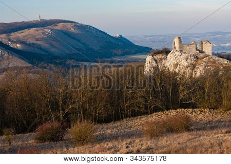 Sirotci hradek ruins and Devicky ruins on Palava region, South Moravia, Czech Republic