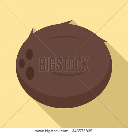 Whole Coconut Icon. Flat Illustration Of Whole Coconut Vector Icon For Web Design
