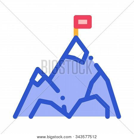 Mountain With Flag On Peak Alpinism Vector Icon Thin Line. Compass, Mountain Direction And Burner Mo
