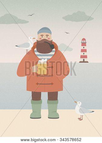 Sailor With Beer Mug Standing Near The Sea. Vintage Vector Card With Smoking Seaman, Craft Beer, Sea