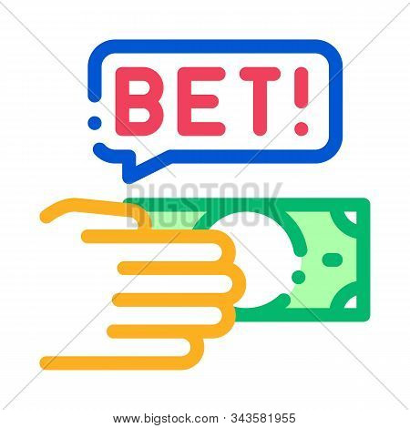 Hand Make Bet Betting And Gambling Icon Vector Thin Line. Contour Illustration