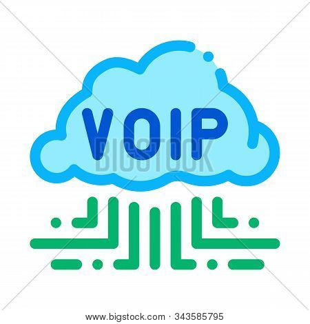 Voip Technology Icon Vector. Outline Voip Technology Sign. Isolated Contour Symbol Illustration
