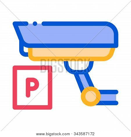Parking Camcorder Icon Vector. Outline Parking Camcorder Sign. Isolated Contour Symbol Illustration