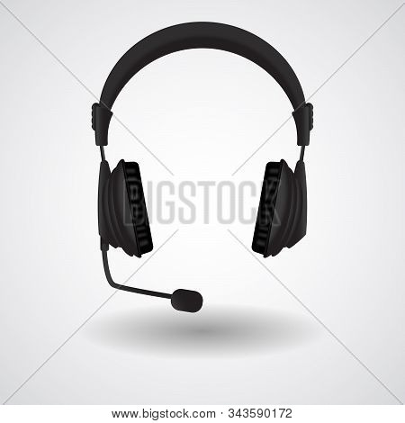 Black Headphones With Microphone. Vector 3d Illustration