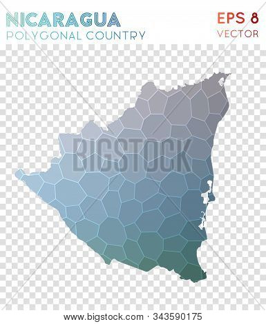 Nicaragua Polygonal, Mosaic Style Country Map. Unequaled Low Poly Style, Modern Design For Infograph