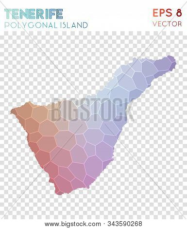 Tenerife Polygonal, Mosaic Style Island Map. Pleasing Low Poly Style, Modern Design For Infographics