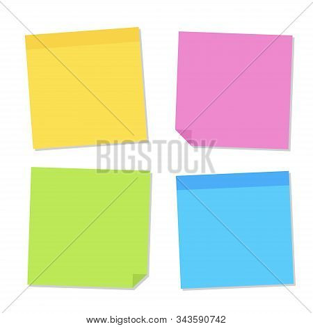 Blank Post For Message, To Do List, Memory. Sticky Colored Notes. Set Different Colored Sheets Of No
