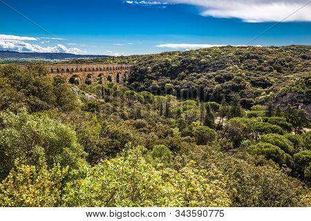 Roman Aqueduct Pont Du Gard - Nimes, France, Europe