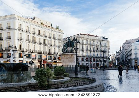 Madrid, Spain - November 1, 2019: Scenic View Of Famous Puerta Del Sol Square. Morning View