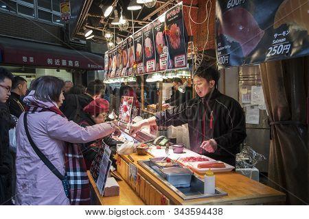 Osaka, Japan- 28 Nov, 2019: Sashimi For Sale In A Seafood Store In The Kuromon Market In Osaka Japan