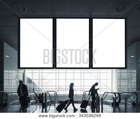 Mock Up Banner Board Flight Information People Passengers With Luggage Airport Departure Travel Tran