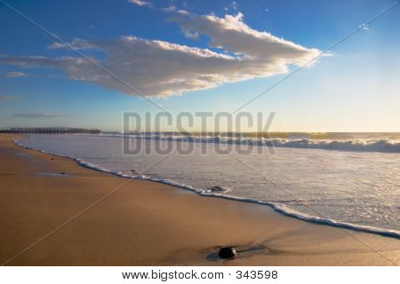 Beach Landscape With Rock Horizontal
