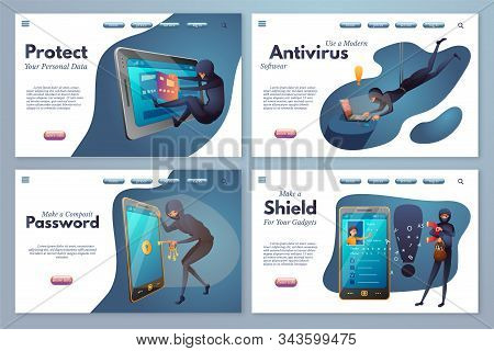 Hacking Activity Flat Vector Landing Pages Pack. Hacker Attack, Internet Crime, Digital Fraud. Credi