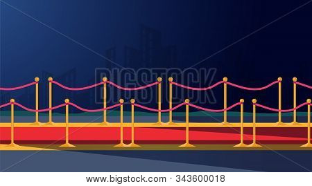 Red Ceremonial Carpet Flat Vector Illustration. Golden Barrier, Clipping Path Drawing. Party, Festiv