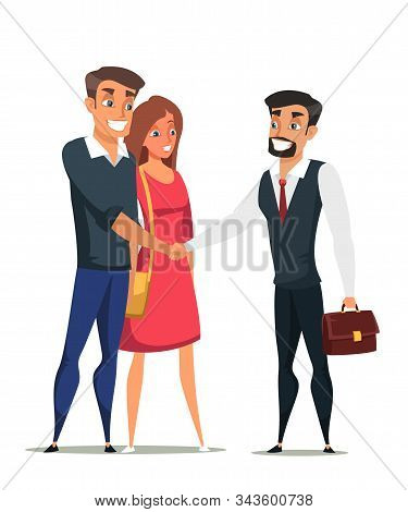 Buyers And Real Estate Agent Flat Characters. Young Family, Couple Buying Property Isolated Clipart.