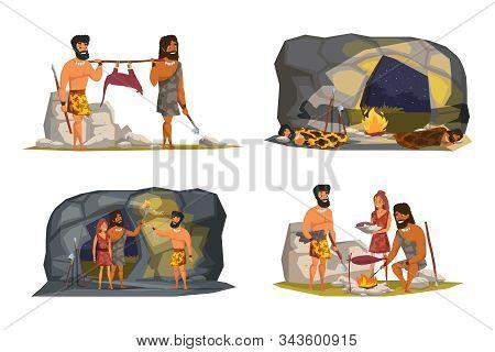 Stone Age Life Scenes Vector Illustrations Set. Primitive People In Animal Fur Flat Cartoon Characte