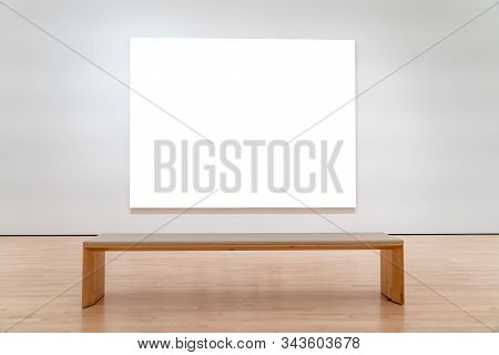 White Mockup Billboard In Front Of A Bench.