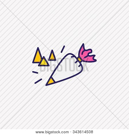Vector Illustration Of Pastry Bag Icon Colored Line. Beautiful Utensil Element Also Can Be Used As C