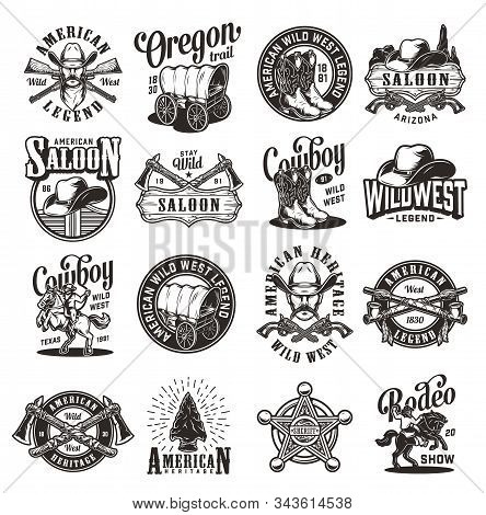 Vintage Wild West Emblems With Cowboys Hats Boots Saloon Doors Signboard Smoking Pipes Guns Rifles S